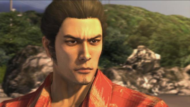 El protagonista de Yakuza, Kazuma Kiryu, mirando algo intensamente.